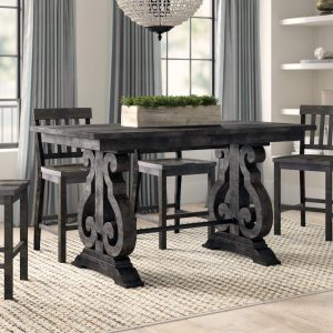 ELLENTON COUNTER ADJUSTABLE HEIGHT SOLID WOOD DINING TABLE
