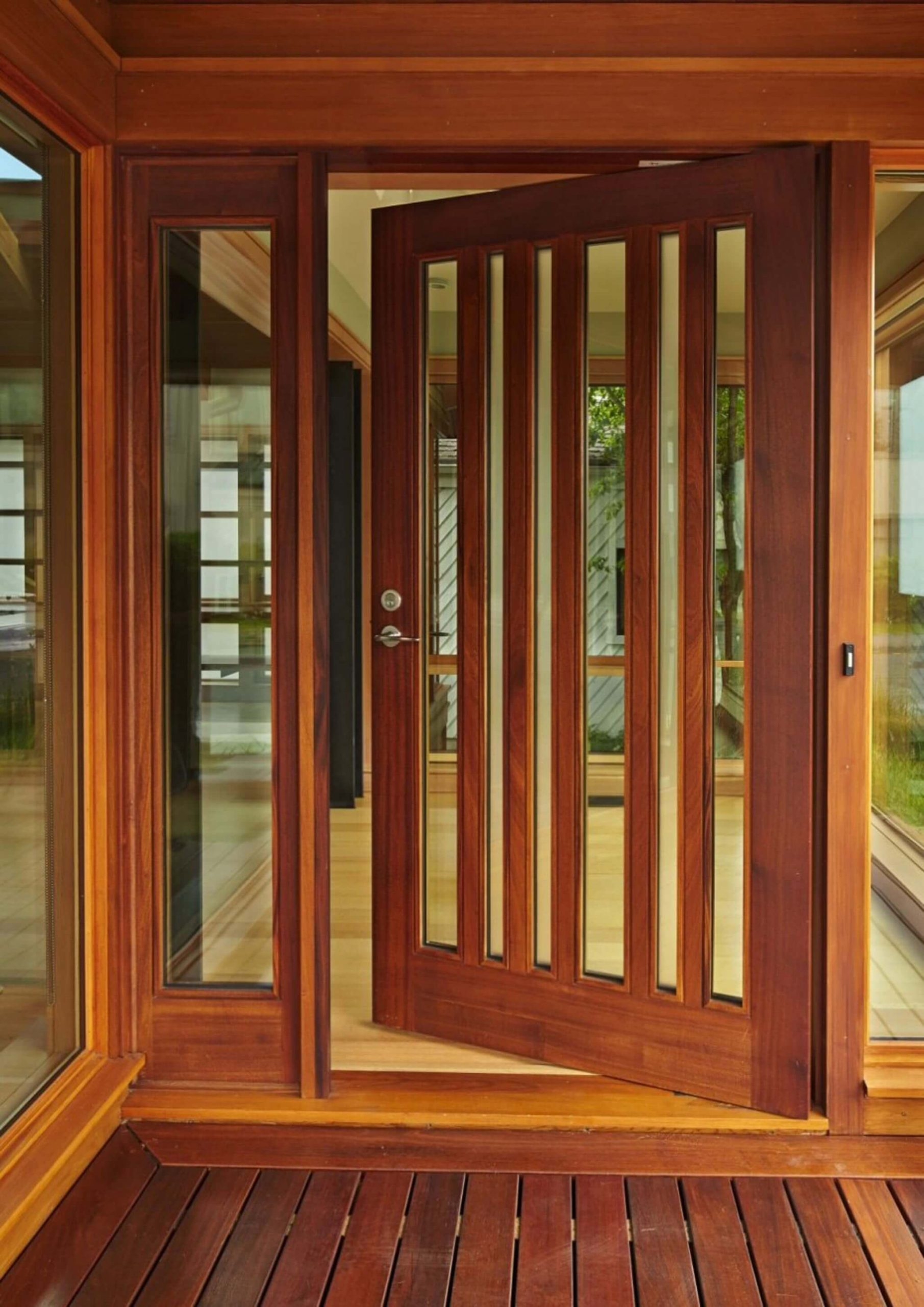 WOOD AND GLASS DOOR ENTRANCE DESIGN IDEAS