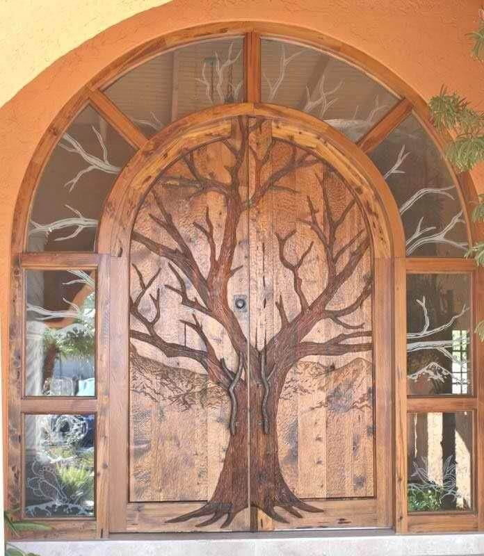 WOODEN DOOR ENTRANCE ARTWORK DESIGN IDEAS