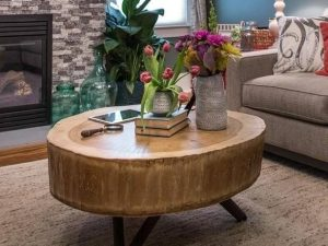HUGE STUMP WOOD ROUND COFFEE TABLE