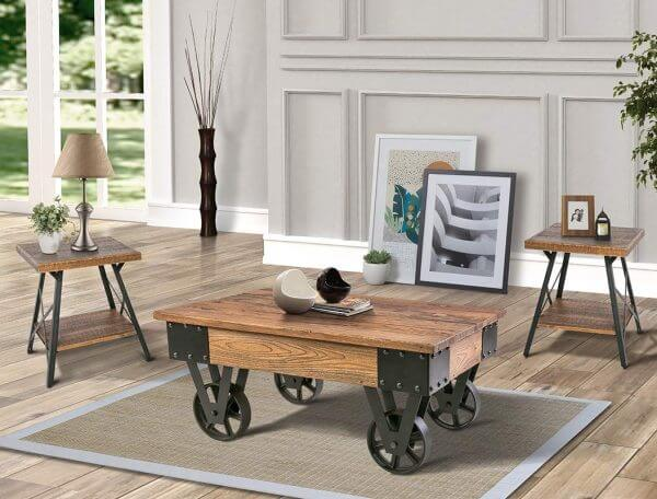 MOVABLE RUSTIC NATURAL WOOD COFFEE TABLE DESIGN IDEAS