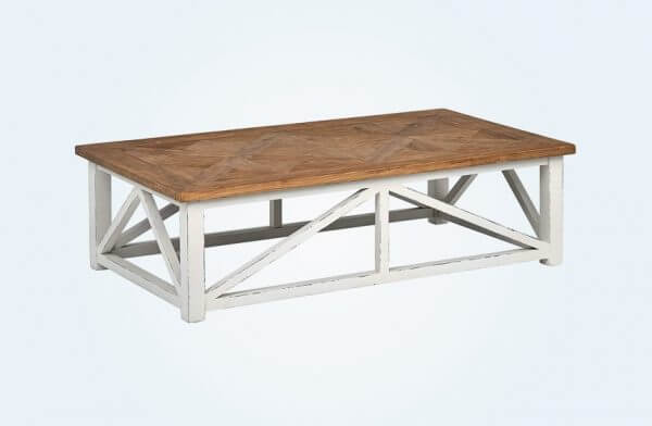 Natural Wood Rustic Farmhouse-Styled Coffee Table
