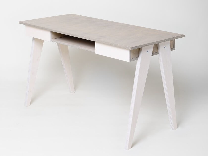 PLYWOOD DESK WITH DRAWERS