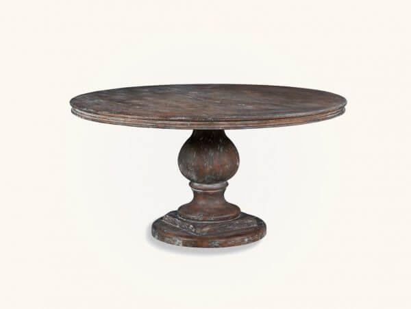 ROUND DISTRESSED WOOD DINING TABLE
