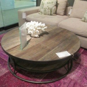 ROUND INDUSTRIAL WOOD COFFEE TABLE CONTEMPORARY STYLE