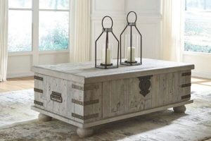 Rustic Rectangular Grey Natural Wood Coffee Table