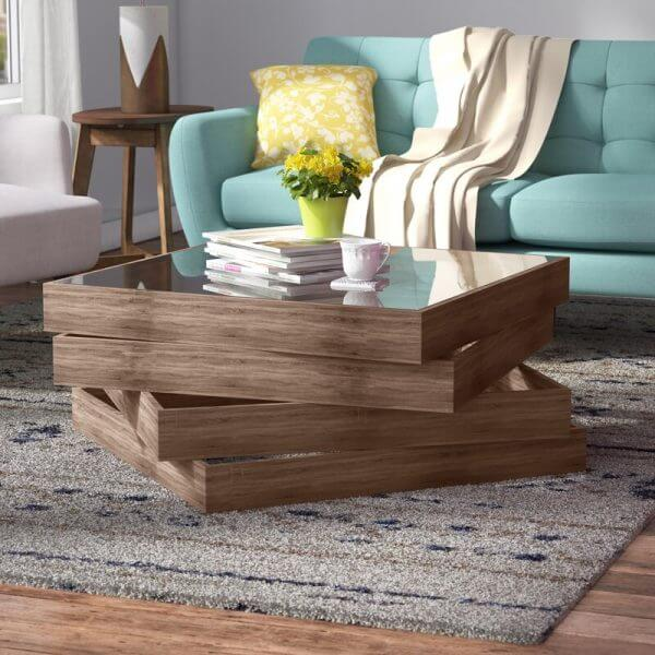SOLID WOOD AND GLASS COFFEE TABLE UNIQUE DESIGN IDEAS