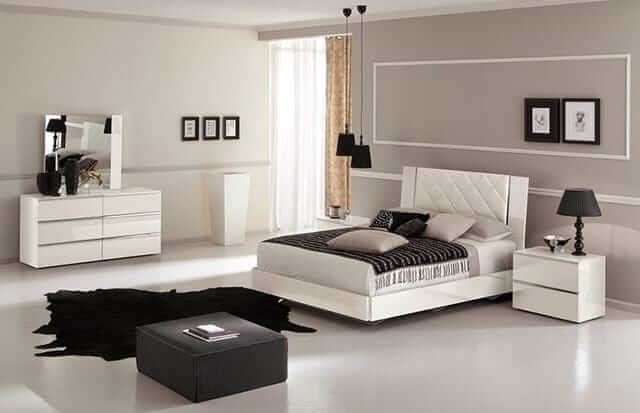 SOLID WOOD BEDROOM FURNITURE WITH WHITE LEATHER