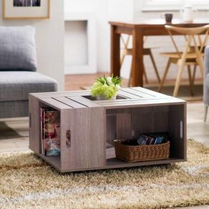 SOLID WOOD CRATE COFFEE TABLE DESIGN IDEAS