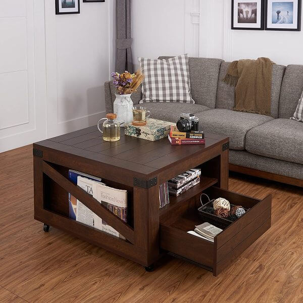 SOLID WOOD FARMHOUSE WITH STORAGE COFFEE TABLE DESIGN IDEAS