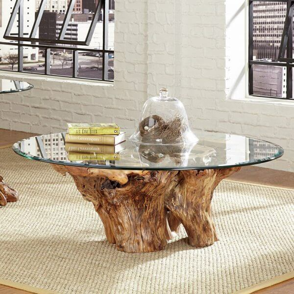 SOLID WOOD STUMP COFFEE TABLE NATURE DESIGN IDEAS