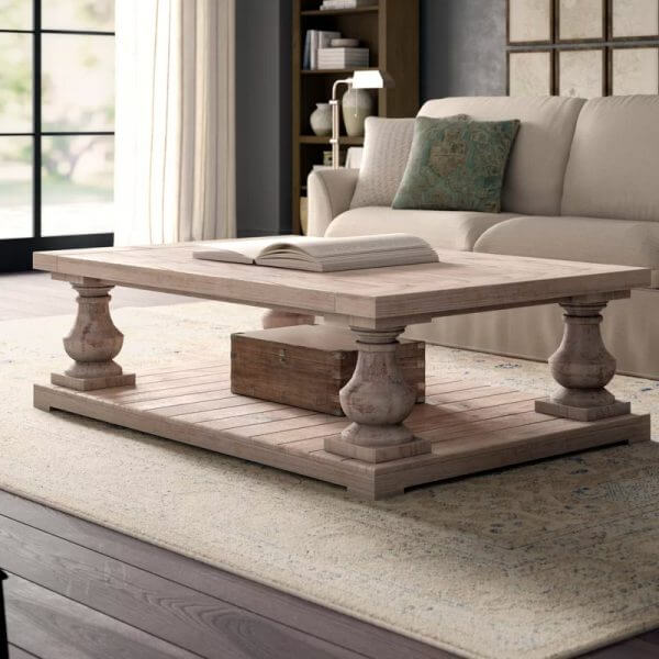 Square Rustic Country Coffee Table