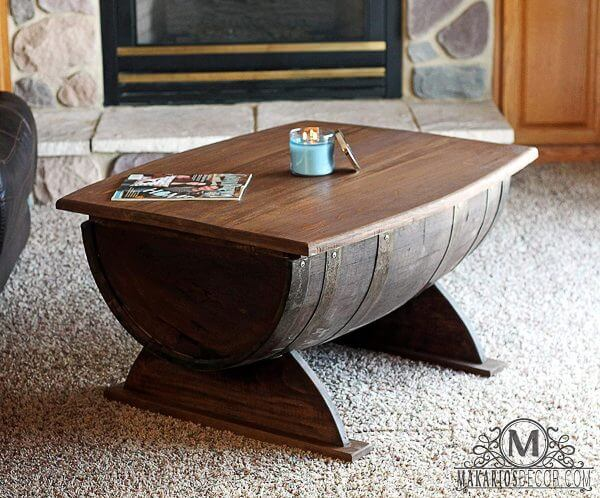 WINE BARREL SOLID WOOD COFFEE TABLE DESIGN IDEAS