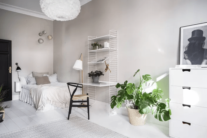 WIRE FRAME SHELVES WOOD DESK WITH DRAWERS