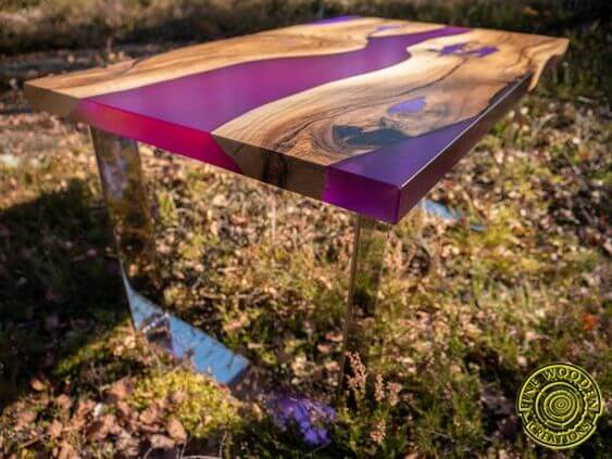 DEEP PURPLE WOOD AND RESIN TABLE