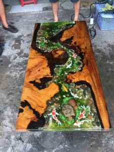 FISH POND WOOD AND RESIN TABLE