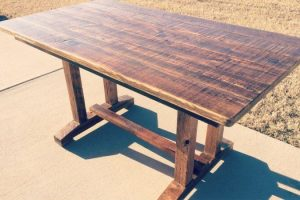 RECLAIMED WOOD PEDESTAL FARMHOUSE TABLE TOP