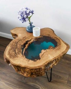 SMALL COFFEE TABLE WITH WATER LOOKING EPOXY