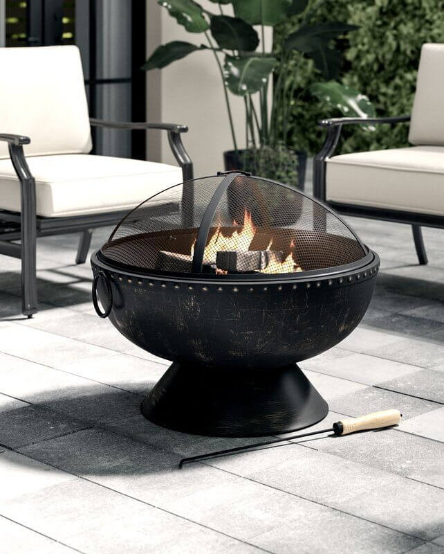TUSCOLA FIREBOWL STEEL PORTABLE WOOD BURNING FIRE PIT TABLE