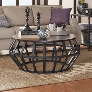 UNIQUE ROUND WOOD AND METAL COFFEE TABLE FOR FEMININE LIVING ROOM