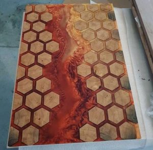 WOOD AND RESIN TABLE BURNING LAVA LOOK