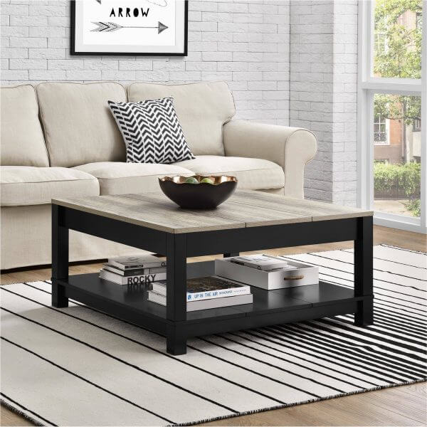 BLACK AND WOOD PATTERN ACCENT ON TOP SQUARE COFFEE TABLE