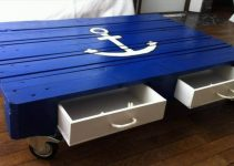 BLUE PALLET WOOD COFFEE TABLE IDEAS WITH LUNGER SIGN AND DRAWERS