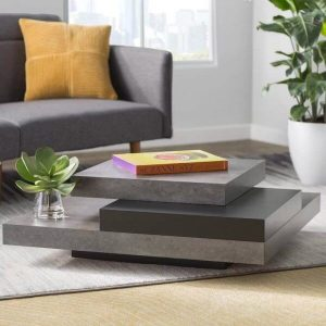 FAUX CONCRETE SQUARE GREY MANUFACTURED WOOD COFFEE TABLE DESIGN IDEAS