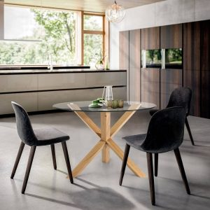 NATURAL WOOD LEG DINING TABLE WITH GLASS FOR THE TOP