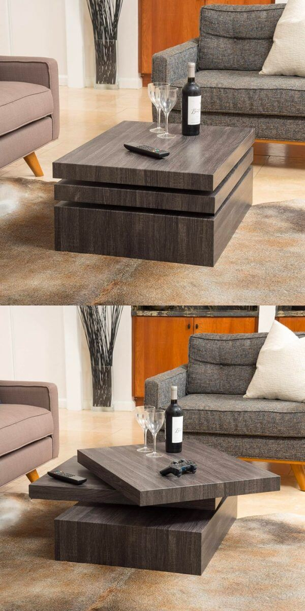 ROTATE SQUARE WOOD COFFEE TABLE