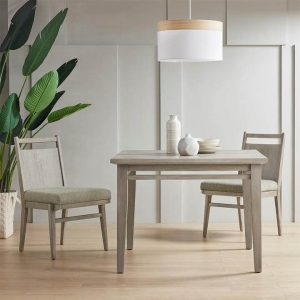 SIMPLE SQUARE NATURAL WOOD DINING TABLE TRADITIONAL AND MODERN COMBINATION DESIGN