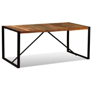SIMPLY DESIGN METALS AND NATURAL WOOD DINING TABLE