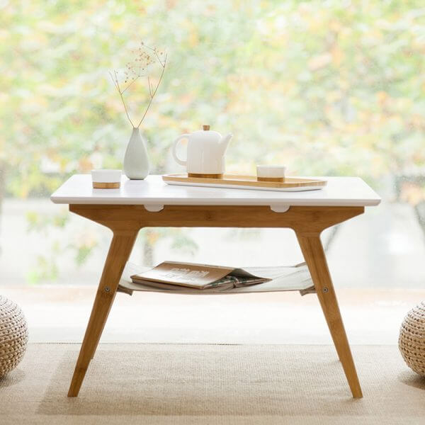 SMALL SQUARE WHITE WOOD COFFEE TABLE DOUBLE LAYER BAMBOO
