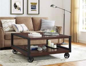 SQUARE INDUSTRIAL STYLE CART WITH WHEELS COFFEE TABLE