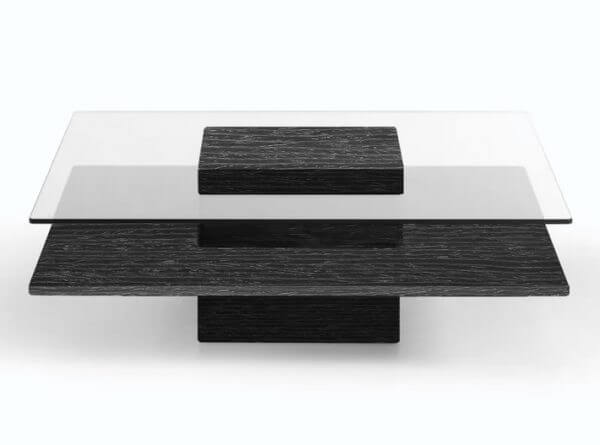 SQUARE LEVITATED GLASS AND WOOD COFFEE TABLE