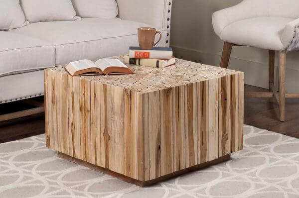 SQUARE NATURAL TEAKWOOD COFFEE TABLE CUBE SHAPED