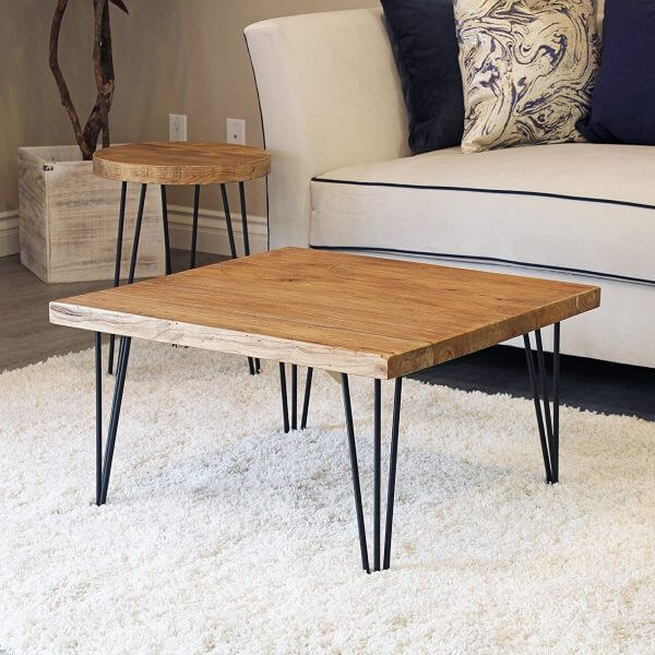 SQUARE WOOD AND METAL COMBINATION COFFEE TABLE