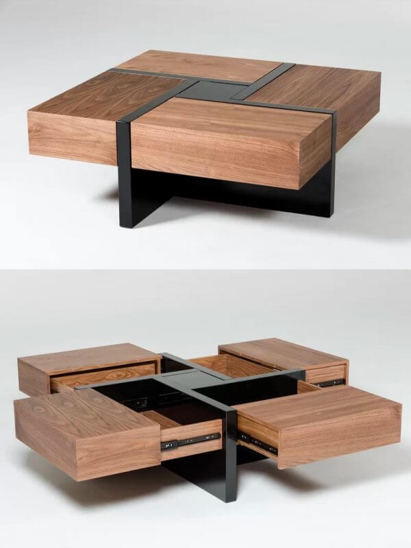 SQUARE WOOD COFFEE TABLE IDEAS WITH SECRET DRAWERS