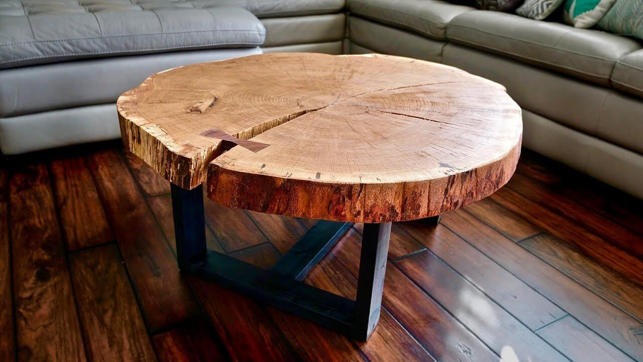 CHEAP AND SIMPLE WOOD SLICE COFFEE TABLE