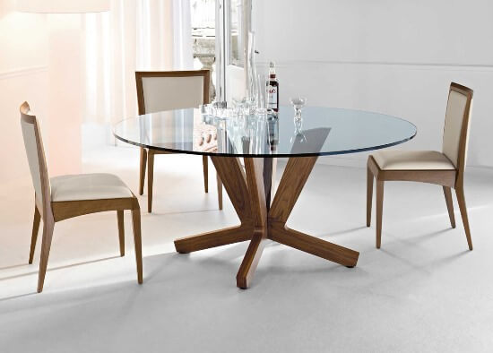 MODERN GLASS AND WOOD ROUND DINING TABLE DESIGN IDEAS