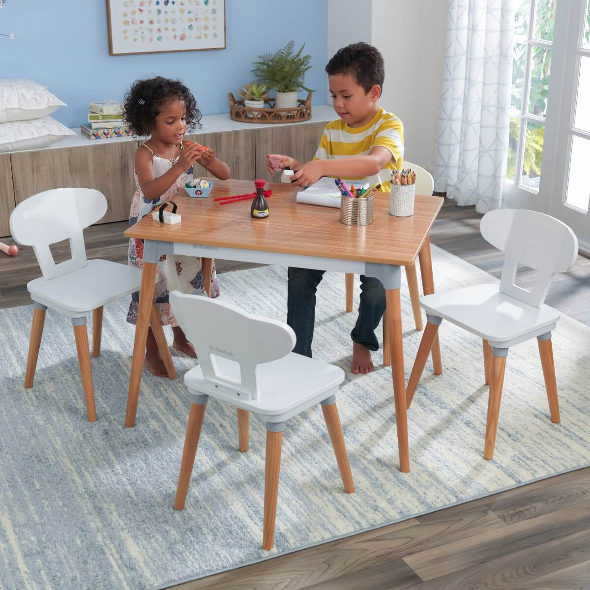 BIGGER AND TALLER CHILDRENS WOOD TABLE AND CHAIRS SETS