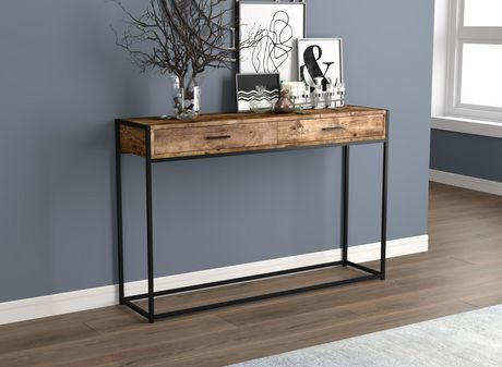 BLACK METAL AND BROWN RECLAIMED WOOD CONSOLE TABLE