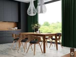 DARK WOOD DINING TABLE AND LEATHER CHAIR NEAR LARGE WINDOW