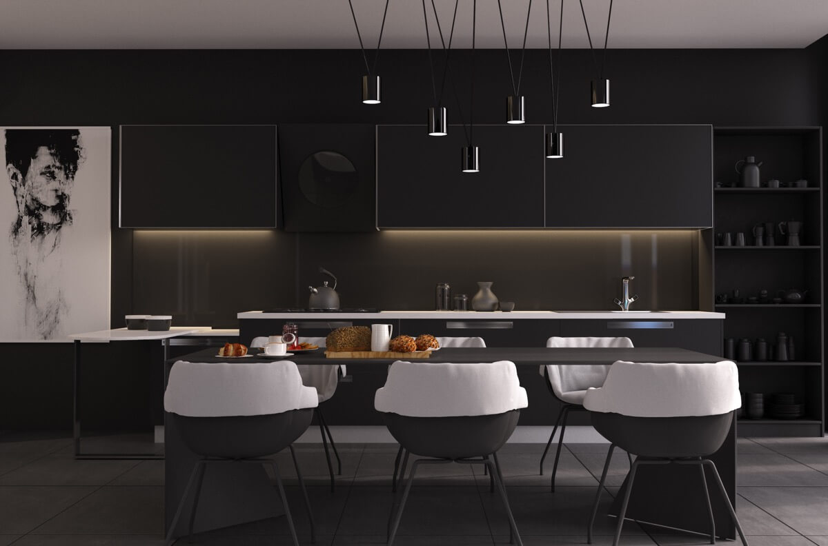 DARK WOOD DINING TABLE COMBINED WITH DARK CHAIRS MODERN CHANDELIER