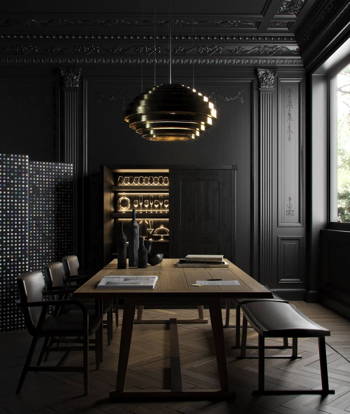 DARK WOOD DINING TABLE WITH GOLD PENDANT LIGHT