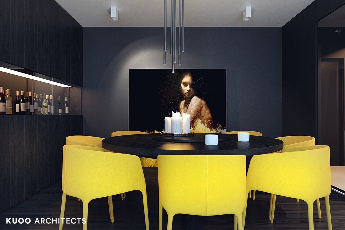 DARK WOOD DINING TABLE WITH YELLOW MODERN CHAIRS