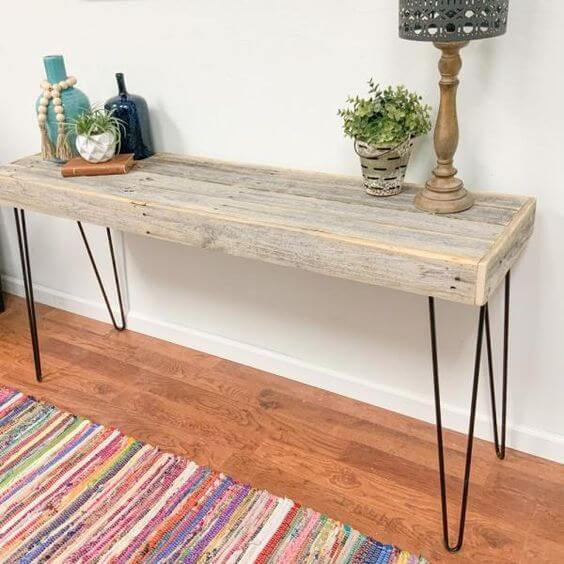 DEL HUTSON'S HAIR PIN RECLAIMED WOOD CONSOLE TABLE