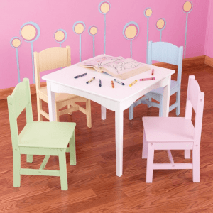 PASTEL TONE CHILDRENS WOOD TABLE AND CHAIRS SETS