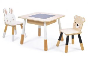 RABBIT AND BEAR CHILDRENS WOOD TABLE AND CHAIRS SETS