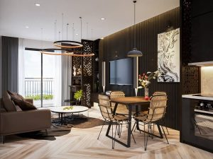 DARK WOOD DINING TABLE IN THE LIVING DINING ROOM COMBO